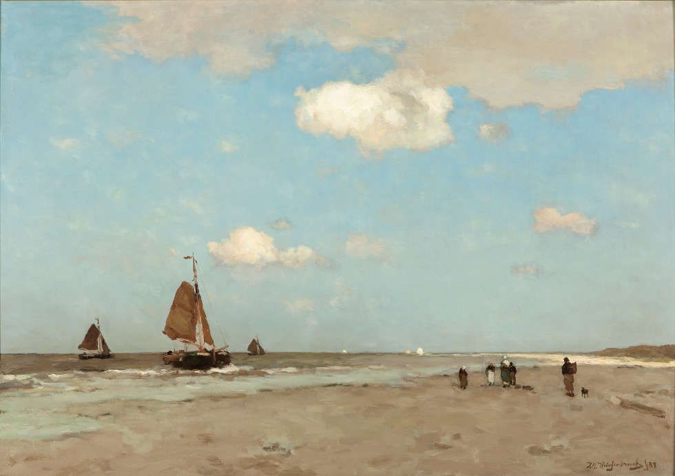 Jan Hendrik Weissenbruch, Strandszene, 1887, Öl/Lw, 72,8 x 102,9 cm (Gemeentemuseum Den Haag)