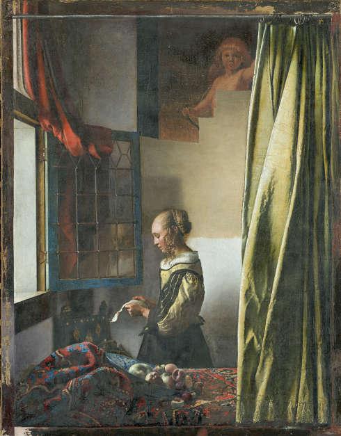 Johannes Vermeer, Brieflesendes Mädchen am offenen Fenster, um 1657–1659, Aktueller Zwischenzustand der Restaurierung zum 7. Mai 2019, Öl/Lw (Gemäldegalerie Alte Meister © SKD, Foto: Wolfgang Kreische)