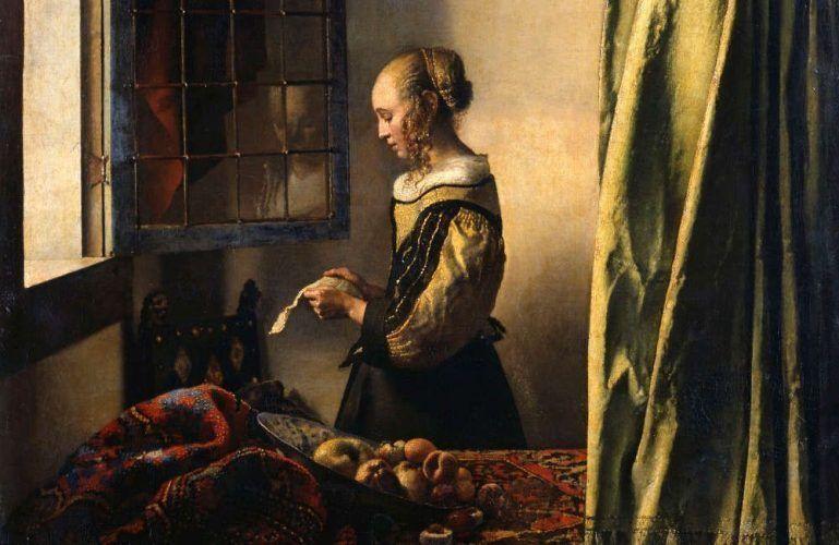 Jan Vermeer, Die Briefleserin (am offenen Fenster), Detail, um 1657/59, Öl/Lw, 83 x 64,5 cm (Dresden, Gemäldegalerie Alte Meister – Staatliche Kunstsammlungen)