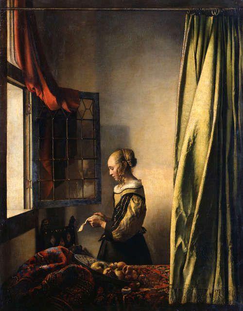 Jan Vermeer, Die Briefleserin (am offenen Fenster), um 1657/59, Öl/Lw, 83 x 64,5 cm (Dresden, Gemäldegalerie Alte Meister – Staatliche Kunstsammlungen) © SKD; Foto: Klut / Estel