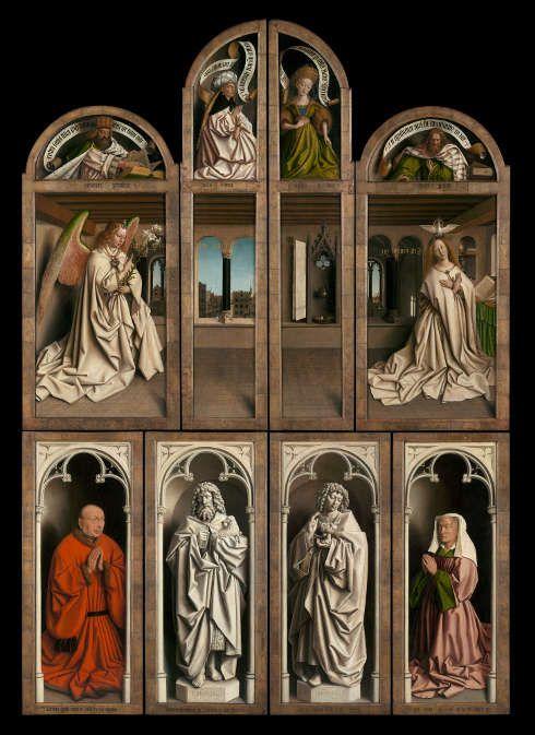 Jan und Hubert van Eyck, Die Anbetung des Mystischen Lammes, 1432 (jüngst restaurierte Außentafeln des Genter Altars) (St Bavo Kathedrale, Gent)