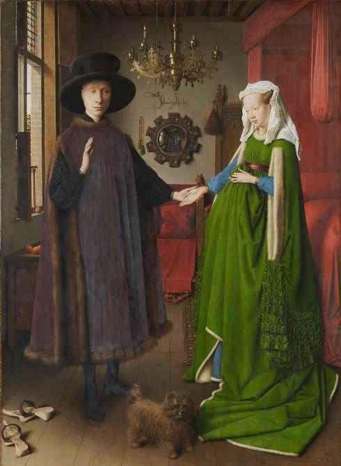 Jan van Eyck, Giovanni (?) Arnolfini und seine Ehefrau, Die Arnolfini Hochzeit, 1434 (© National Gallery, London)