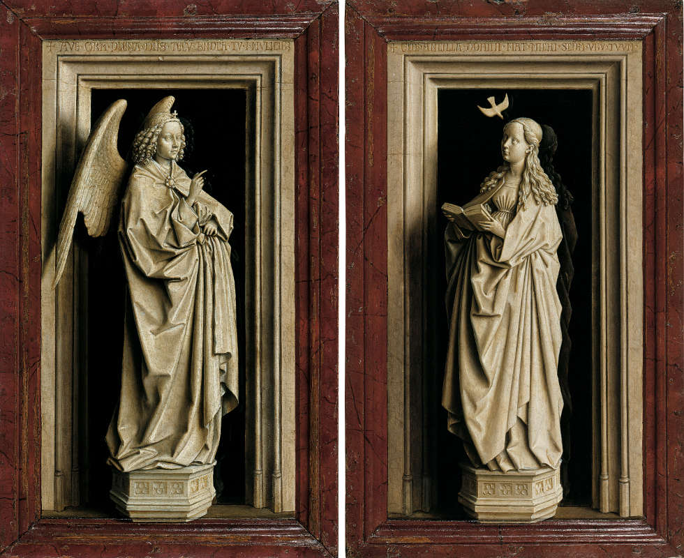 Jan van Eyck, Diptychon der Verkündigung, um 1433–1435 (Museo Nacional Thyssen-Bornemisza, Madrid)