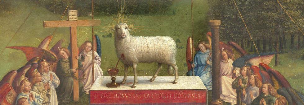 Jan van Eyck, Genter Altar, Anbetung des Lamm Gottes, Detail (©Sint-Baafskathedraal Gent © www.lukasweb.be – Art in Flanders vzw, Dominique Provost)