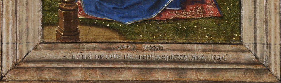 Jan van Eyck, Madonna am Springbrunnen, Signatur, 1439, 19 x 12 cm (© KMSKA – Lukas-Art in Flanders vzw, foto Hugo Maertens)