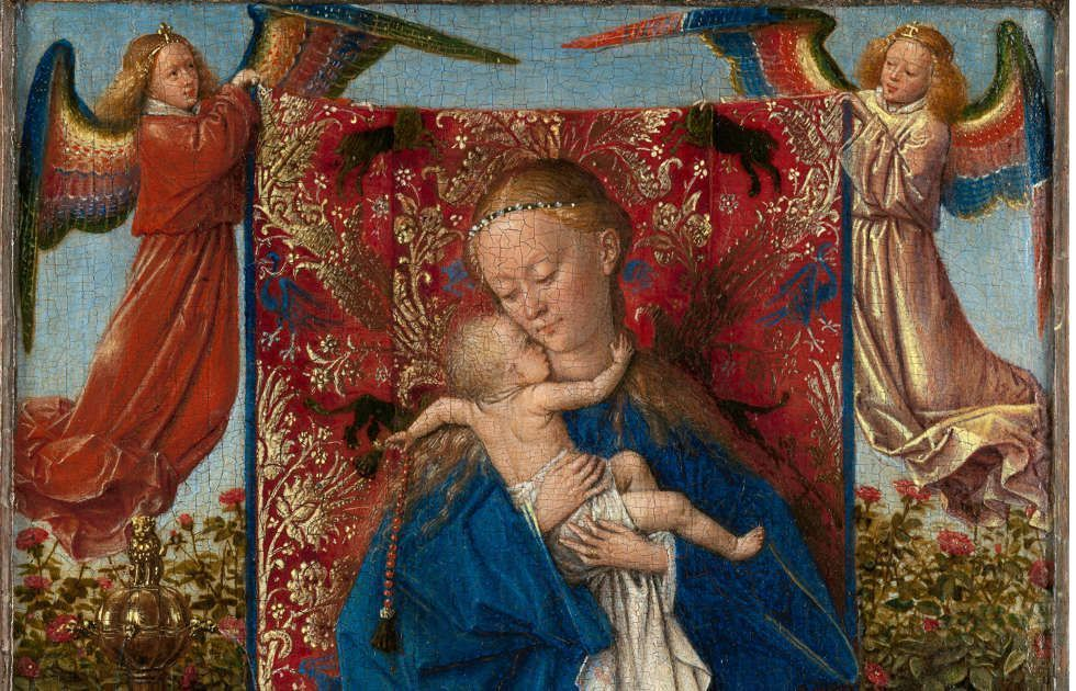 Jan van Eyck, Madonna am Springbrunnen, Detail, 1439, 19 x 12 cm (© KMSKA – Lukas-Art in Flanders vzw, foto Hugo Maertens)