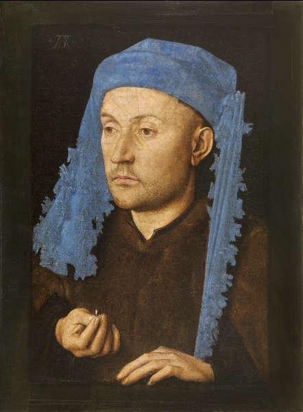 Jan van Eyck, Porträt eines Mannes mit blauem Chaperon, um 1428−1430, Muzeul National Brukenthal, Sibiu (Romania)