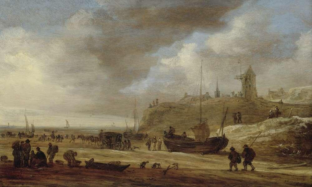 Jan van Goyen, Den Haag, Strand mit Blick auf Scheveningen von Südwesten, 1653, Öl auf Eichenholz (Privatsammlung, WRM Dep. 569)