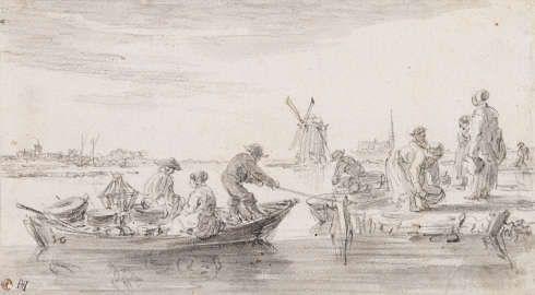Jan van Goyen, Fischer, ihren Fang mit dem Boot anlandend, um 1650, Schwarze Kreide, grau laviert (Kunsthalle Bremen – Der Kunstverein in Bremen, Kupferstichkabinett)