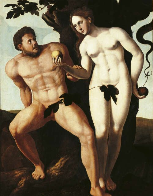Jan van Scorel, Adam und Eva, 1527–1530, Öl auf Holz, 156 × 121 cm (Frans Hals Museum, Haarlem)