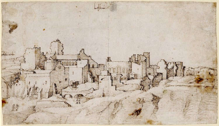 Jan van Scorel, Ansicht von Bethlehem, eine Gruppe Ruinen mit dem Konvent der Geburt Christi links, um 1520, Feder, braune Tinte, 17.3 × 29.8 cm (British Museum, London, Inv.-Nr. 1928,0310.100)