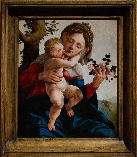 Jan van Scorel, Maria mit Kind (Die Madonna mit den Wildrosen), um 1530, Öl auf Holz, 52 × 44 cm (Centraal Museum, Utrecht)