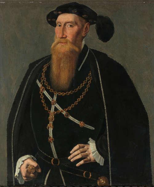 Jan van Scorel, Porträt von Reinoud III von Brederode, um 1545, Öl auf Holz, 78.6 × 67 cm (Rijksmuseum, Amsterdam)