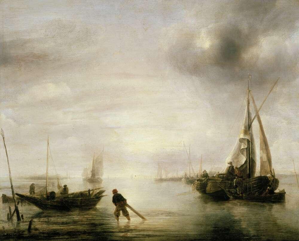Jan van der Cappelle, Windstille, 1650er Jahre, Öl auf Eichenholz (WRM 2535)