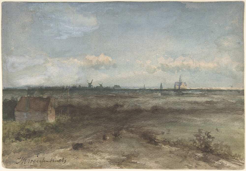 Jan Hendrik Weissenbruch, Ansicht von Haarlem von den Dünen, 1868, Aquarell, 22,7 x 33 cm (MET, New York, Mr. and Mrs. Isaac D. Fletcher Collection, Bequest of Isaac D. Fletcher, 1917)