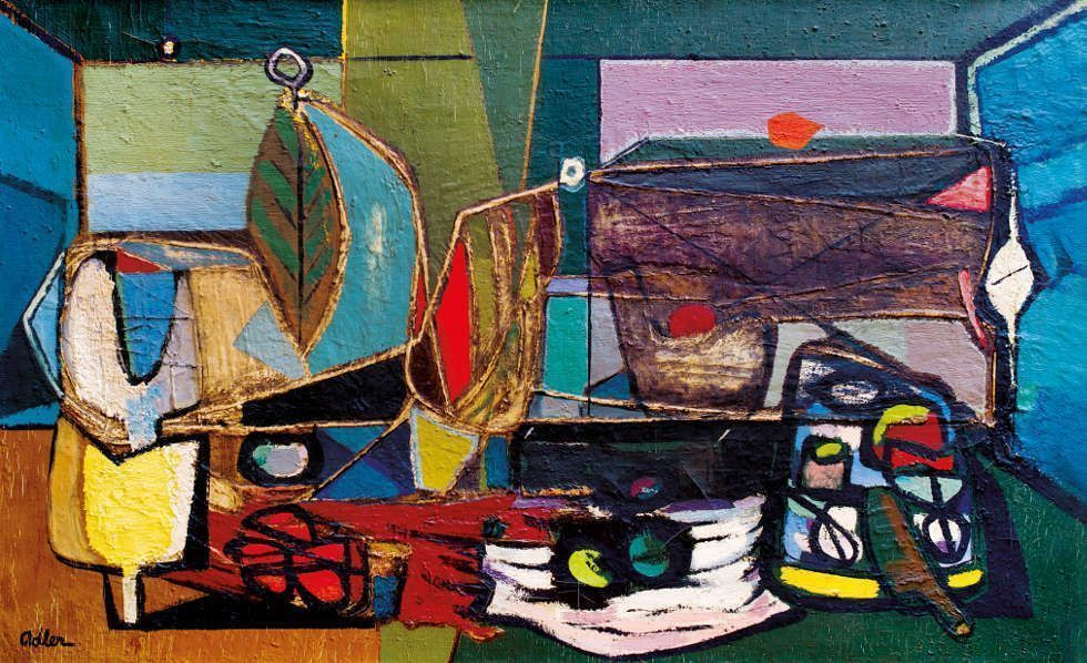 Jankel Adler, Komposition, 1946, Öl auf Leinwand, 88 x 142 cm (Goldmark Gallery / Aukin Collection © VG Bild-Kunst Bonn, 2018)