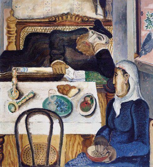 Jankel Adler, Sabbat, Düsseldorf 1925, Öl auf Leinwand, Mischtechnik, Sand auf Leinwand, 120 x 110 cm (Jüdisches Museum Berlin Foto: Jüdisches Museum Berlin, Jens Ziehe © VG Bild-Kunst Bonn, 2018)