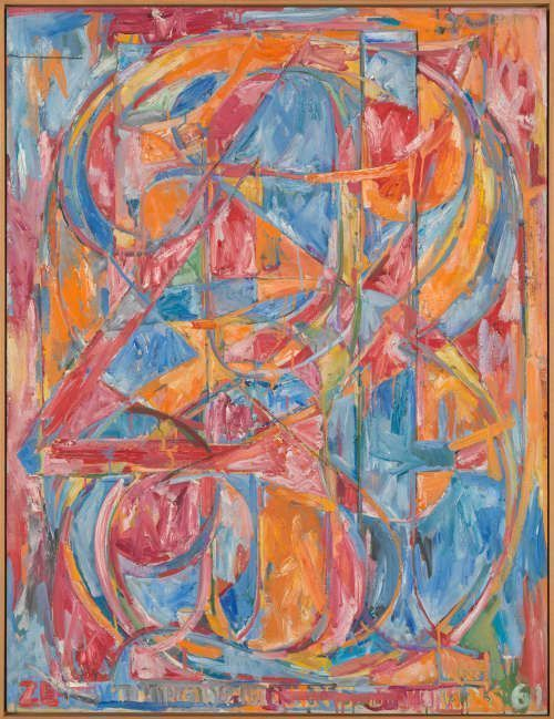 Jasper Johns, 0 through 9, 1961, Öl/Lw, 137.2 x 104.8 cm (Tate, London 2016, (c) Jasper Johns / VAGA, New York / DACS, London 2016)