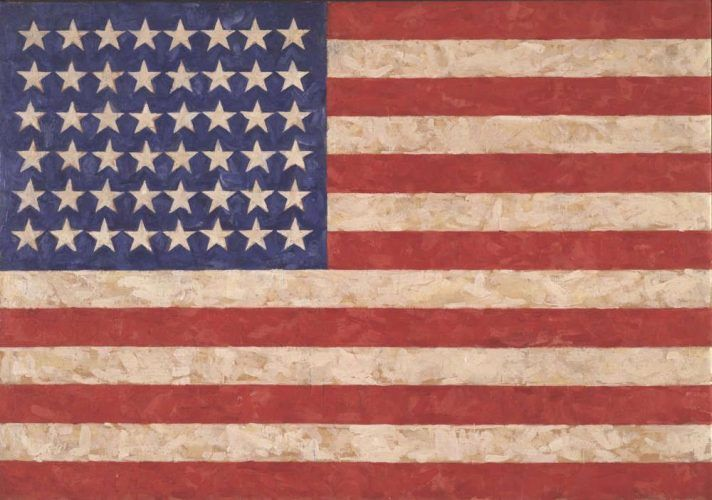 Jasper Johns, Flag, 1958, Enkaustik auf Leinwand, 105.1 x 154.9 cm (Privatsammlung © Jasper Johns / VAGA, New York / DACS, London 2017. Photo: Jamie Stukenberg © The Wildenstein Plattner Institute, 2017)