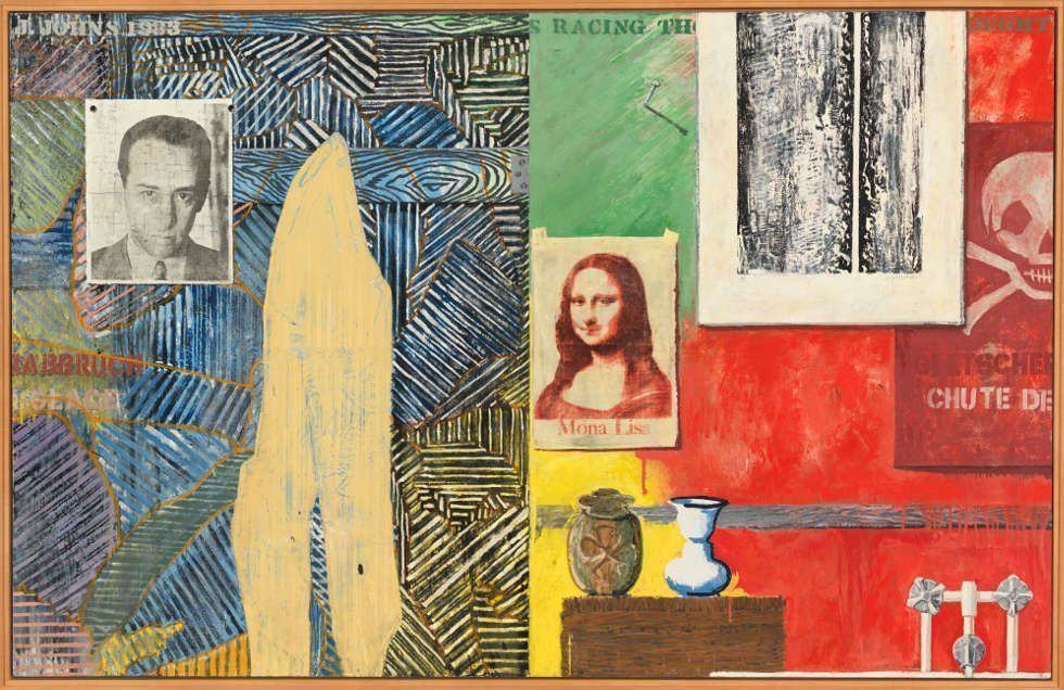 Jasper Johns, Racing Thoughts, 1983, Enkaustik, Siebdruck, Wachskreide auf Karton und Leinen, 122.1 × 191 cm (Whitney Museum of American Art, New York; purchase with funds from the Burroughs Wellcome Purchase Fund; Leo Castelli; the Wilfred P. and Rose J. Cohen Purchase Fund; the Julia B. Engel Purchase Fund; the Equitable Life Assurance Society of the United States Purchase Fund; The Sondra and Charles Gilman, Jr. Foundation, Inc.; S. Sidney Kahn; The Lauder Foundation, Leonard and Evelyn Lauder Fund; the Sara Roby Foundation; and the Painting and Sculpture Committee 84.6 © Jasper Johns / VAGA at Artists Rights Society (ARS), NY)