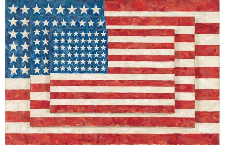 Jasper Johns, Three Flags, 1958, Enkaustik/Lw, 77.8 × 115.6 × 11.7 cm (Whitney Museum of American Art, New York; purchase with funds from the Gilman Foundation, Inc., The Lauder Foundation, A. Alfred Taubman, Laura-Lee Whittier Woods, Howard Lipman, and Ed Downe in honor of the Museum's 50th Anniversary 80.32. Art © Jasper Johns/Licensed by VAGA, New York, NY)