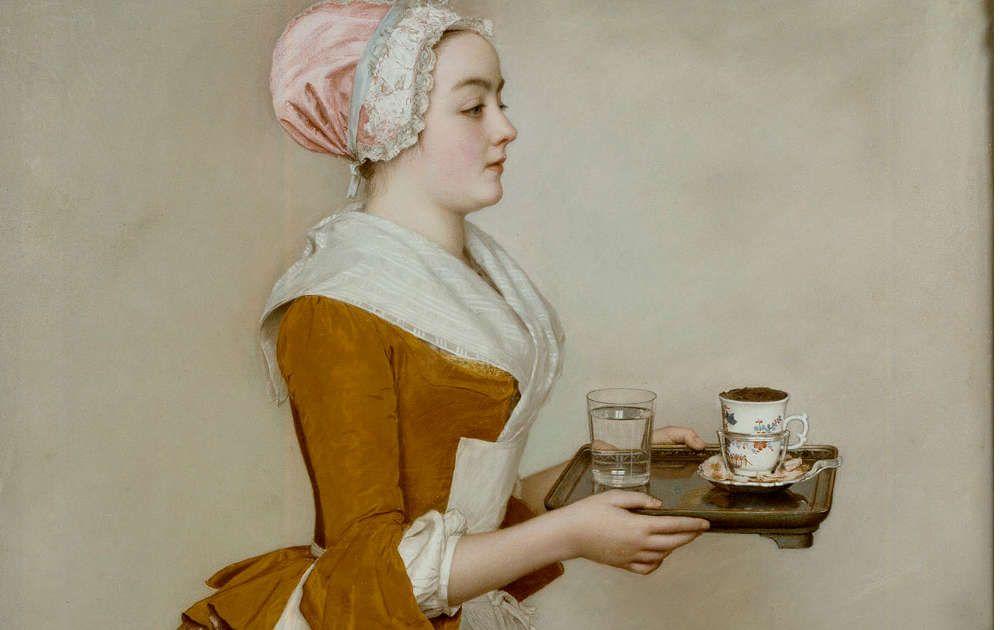 Jean-Etienne Liotard, Das Schokoladenmädchen, DetaiI, 1744-45, Pastell auf Pergament, 82,5 x 52,5 cm (Dresden © Gemäldegalerie Alte Meister, SKD)