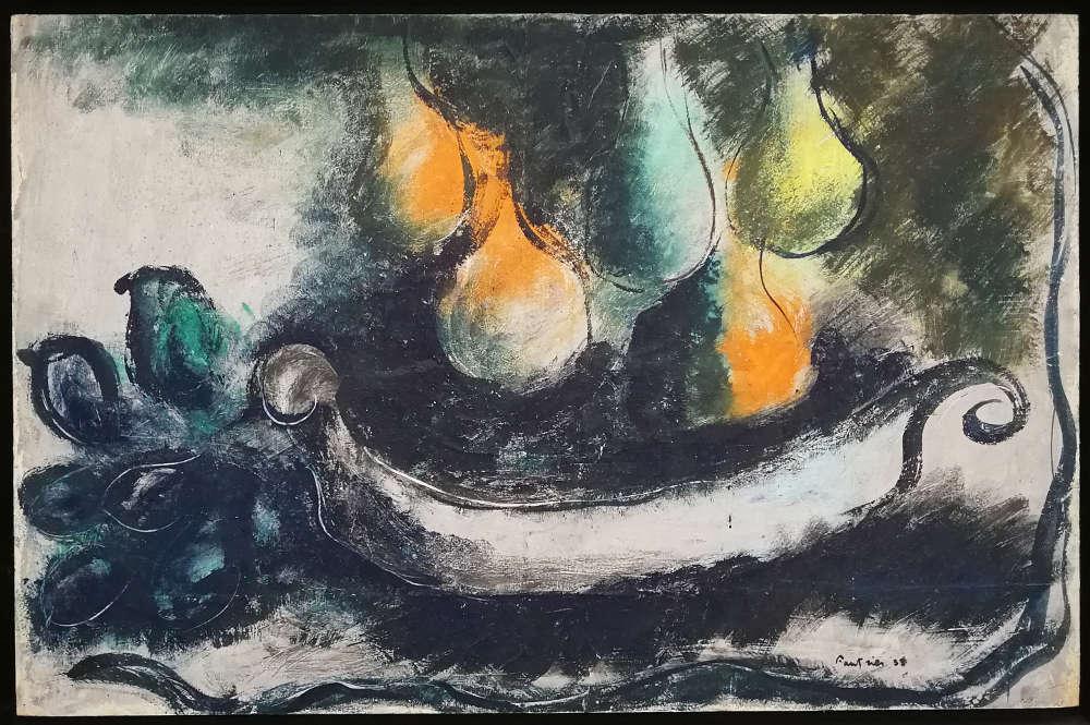 Jean Fautrier, Poirets dans uns vasque, 1938, Öl/Papier/Holz (Privatsammlung, Brüssel, courtesy Galerie Applicat-Prazan, Paris)
