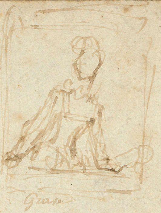 Jean Honoré Fragonard, Skizze: Grave, Zeichnung, um 1769, 23 x 35 cm (gesamt) (Privatsammlung, Paris)