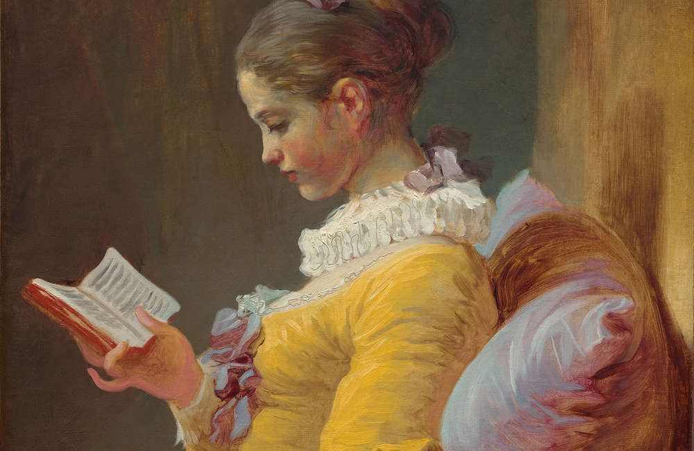 Jean Honoré Fragonard, Lesendes Mädchen, Detail, um 1769, Öl auf Leinwand, 81.1 x 64.8 cm (National Gallery of Art, Washington, Gift of Mrs. Mellon Bruce in memory of her father, Andrew W. Mellon)