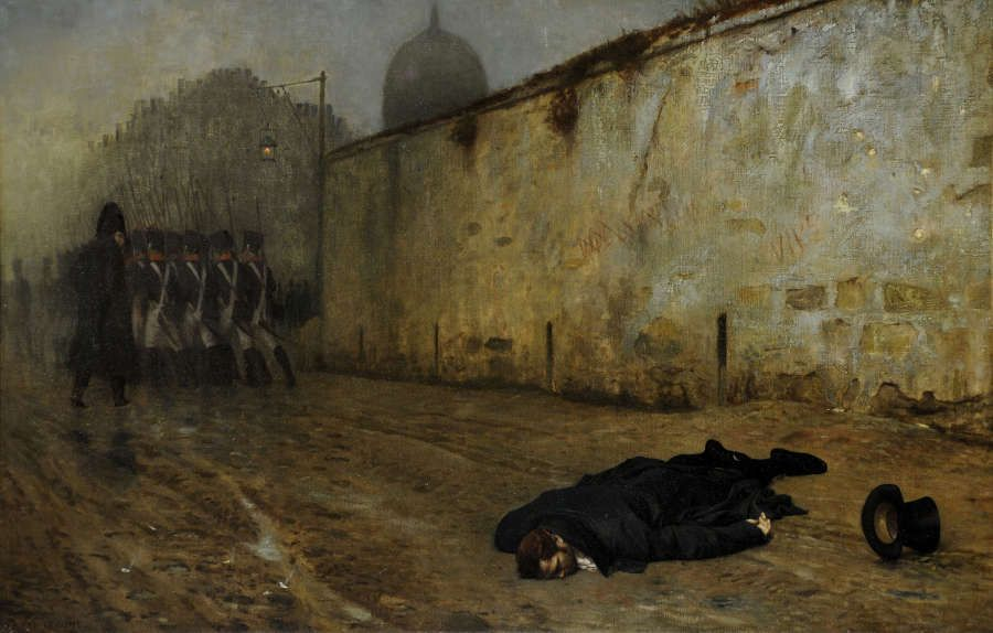 Jean-Léon Gérôme, Die Hinrichtung von Marschall Ney [L'exécution du maréchal Ney], 1855–1865, Öl/Lw, 64,2 x 103 cm (Sheffield Galleries and Museums Trust, UK)