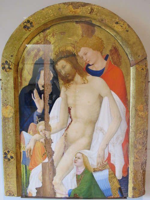 Jean Malouel, Christus gehalten von Maria und hl Johannes, Tempera auf Holz, 102 x 75.5 cm (Musée du Louvre, Paris)