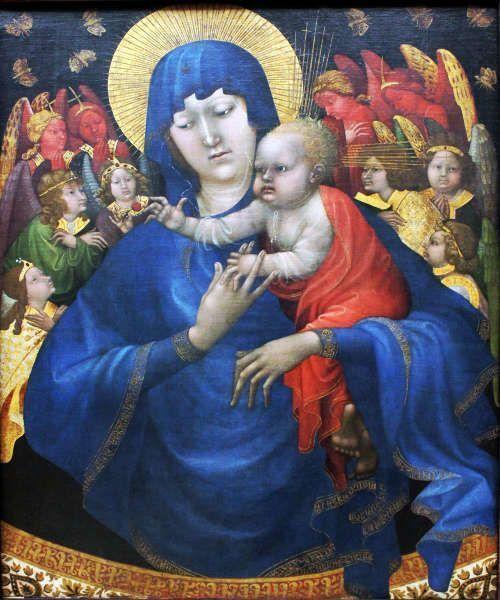 Jean Malouel, Madonna mit Kind, Engeln und Schmetterlingen (Gemäldegalerie, Berlin)