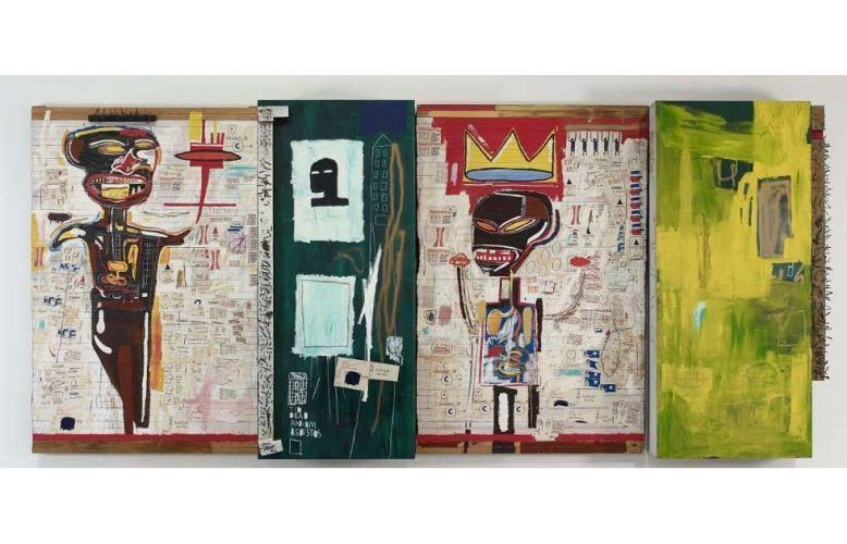 Jean-Michel Basquiat, Grillo, 1984, Öl, Acryl, Ölkreide, Collage und Nägel/Holz, 243.8 x 537.2 x 47 cm (Fondation Louis Vuitton © Estate of Jean-Michel Basquiat. Licensed by Artestar, New York. Foto © Fondation Louis Vuitton / Marc Domage)
