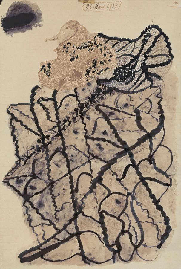 Jeanne Tripier, Nordastral-Malereien, 1937, farbige Tinte auf Papier (Foto: Claudine Garcia, AN, Collection de l'Art Brut, Lausanne)