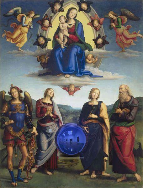Jeff Koons, Gazing Ball (Perugino Madonna und Child mit vier Heiligen), 2014–2015, Öl/Lw, Glas, Aluminum, 179,7 x 136,5 x 37,5 cm (Besitz Jeff Koons, © Jeff Koons)