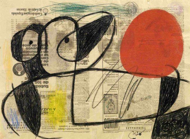 Joan Miró, Personnage devant le soleil [Figur vor der Sonne], 1975, Kohle, Pastellstift und Gouache auf Zeitungspapier, Collection Fondation Marguerite et Aimé Maeght, SaintPaul – France © Successió Miró / VG Bild-Kunst, Bonn 2017