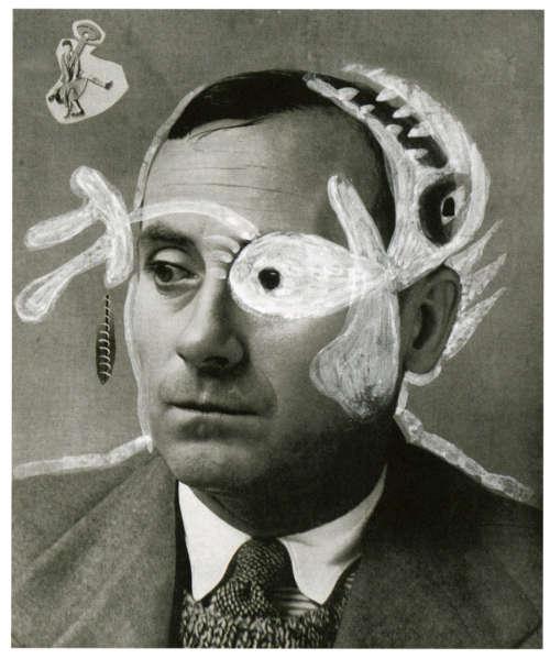 Joan Miró, Selbstporträt, nach 1934, Collage und Deckweiß auf einer Porträt-Fotografie des Künstlers von Horacio Coppola, Archiv der Avantgarden, Dresden © Successió Miró