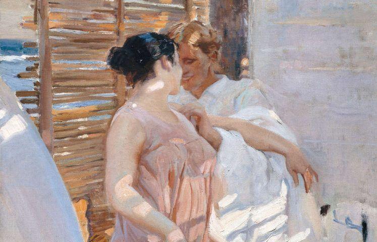 Joaquín Sorolla, Die pinke Robe [La bata rosa], Detail, 1916, Öl/Lw, 208 × 126.5 cm (© Museo Sorolla, Madrid)