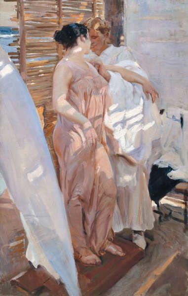 Joaquín Sorolla, Die pinke Robe [La bata rosa], 1916, Öl/Lw, 208 × 126.5 cm (© Museo Sorolla, Madrid)