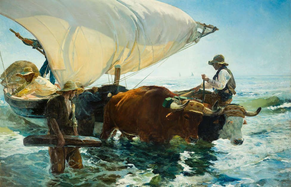 Joaquín Sorolla, Die Rückkehr der Fischer, 1894, Öl/Lw, 265 × 403.5 cm (Paris, musée d'Orsay © Musée d'Orsay, Dist. RMN-Grand Palais / Patrice Schmidt)