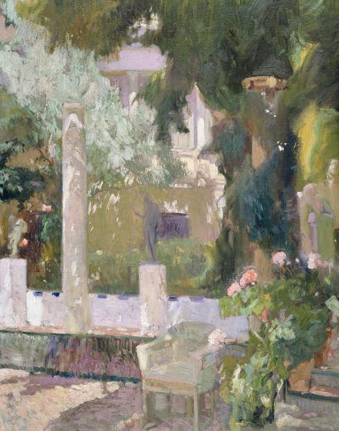 Joaquín Sorolla, Garten von Sorollas Haus mit leerem Stuhl, 1920, Öl/Lw, 104 × 87.5 cm (Museo Sorolla, Madrid © Museo Sorolla, Madrid)