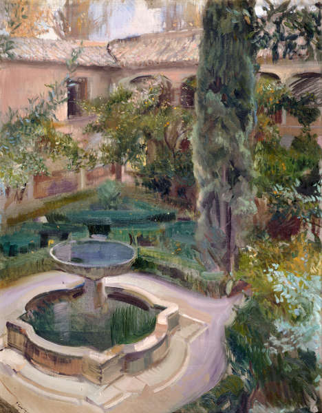 Joaquín Sorolla, Lindaraja Patio, Granada, 1909, Öl/Lw, 106 × 81.5 cm (Museo Sorolla, Madrid © Museo Sorolla, Madrid)