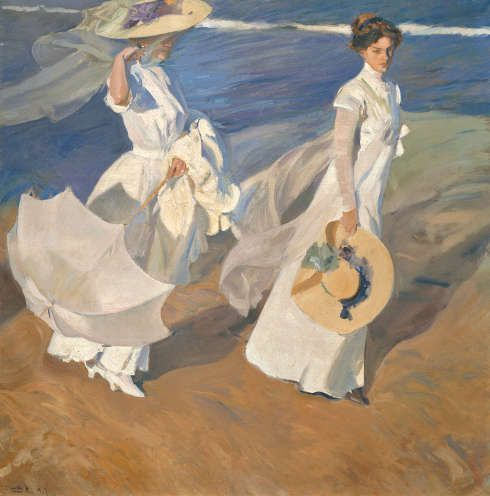 Joaquín Sorolla, Spaziergang am Meer, 1909, Öl/Lw, 205 × 200 cm (Fundación Museo Sorolla, Madrid © Fundación Museo Sorolla, Madrid)