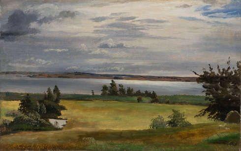 Johan Thomas Lundbye, Eine Wiese nahe des Arresø-Sees, 1838, Öl auf Papier, 21 x 33 cm (Ordrupgaard, Kopenhagen © Foto: Anders Sune Berg)