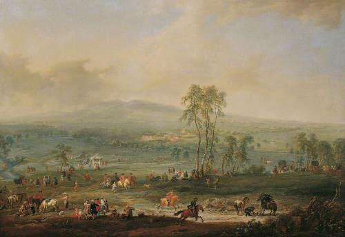 Johann Christian Brand, Laxenburg von der Schneiderau gegen Guntramsdorf und Mödling, 1758, Öl auf Leinwand, 97 x 138 cm © Belvedere, Wien