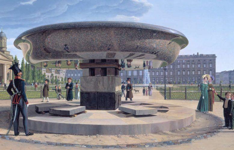 Johann Erdmann Hummel, Die Granitschale im Berliner Lustgarten, Detail, 1831 (© Staatliche Museen zu Berlin, Nationalgalerie / Jörg P. Anders)