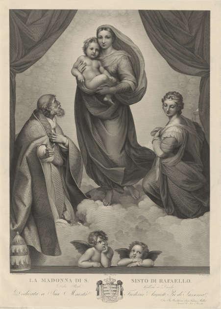 Johann Friedrich Wilhelm Müller nach Raffael, Sixtinische Madonna, 1808–1816, Kupferstich und Radierung, 76,8 x 55,5 cm (Platte) (© Hamburger Kunsthalle, Kupferstichkabinett / bpk, Foto: Christoph Irrgang)