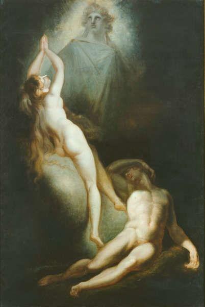 Johann Heinrich Füssli, Die Erschaffung Evas, 1791–1793, Öl/Lw, 307 x 207 cm (© Hamburger Kunsthalle / bpk Foto: Elke Walford)