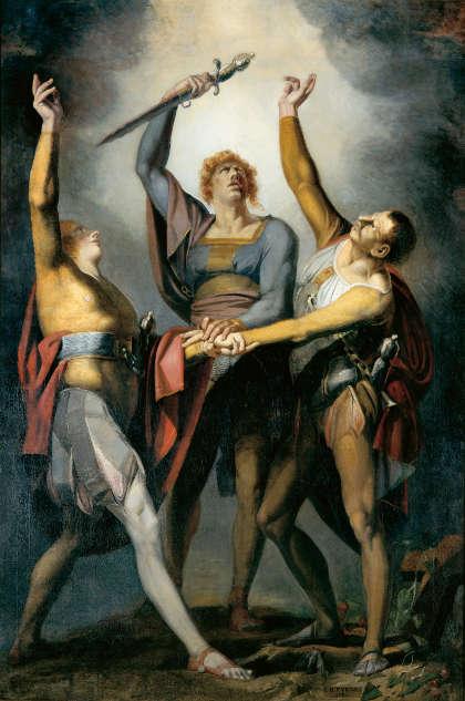 Johann Heinrich Füssli, Die drei Eidgenossen beim Schwur auf dem Rütli, 1779–1781, Öl auf Leinwand, 267 x 178 cm (Kunsthaus Zürich)