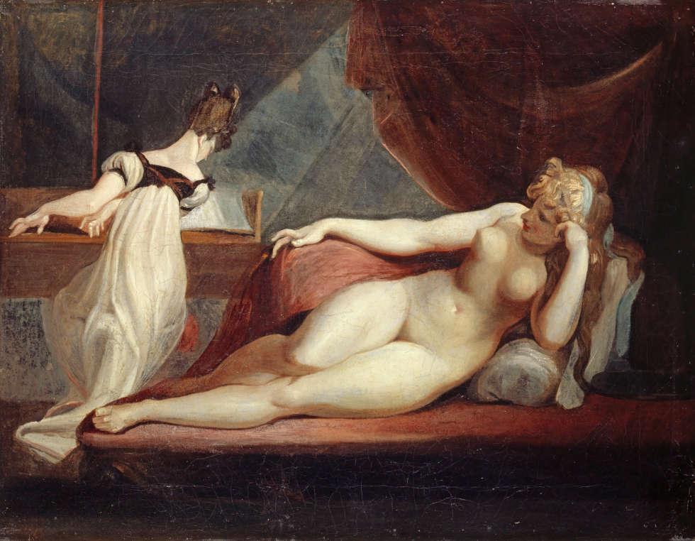 Johann Heinrich Füssli, Ruhender Frauenakt und Klavierspielerin, 1799/1800, Öl auf Leinwand, 71.2 x 91 cm (Kunstmuseum Basel- Ankauf, Kunstmuseum Basel, Martin P. Bühler)